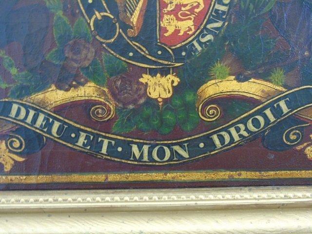 Antique 19th C Painting United Kingdom Coat of Arm - 2