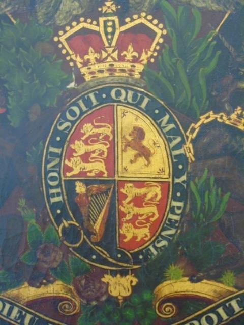 Antique 19th C Painting United Kingdom Coat of Arm - 3