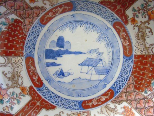 Large Antique Japanese Imari Porcelain Bowl - 4