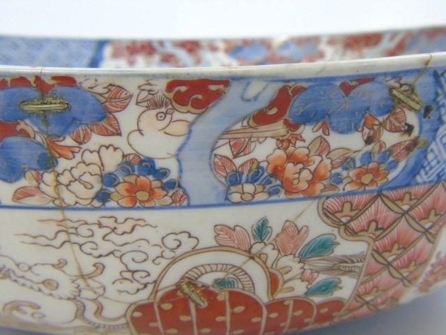 Large Antique Japanese Imari Porcelain Bowl - 6