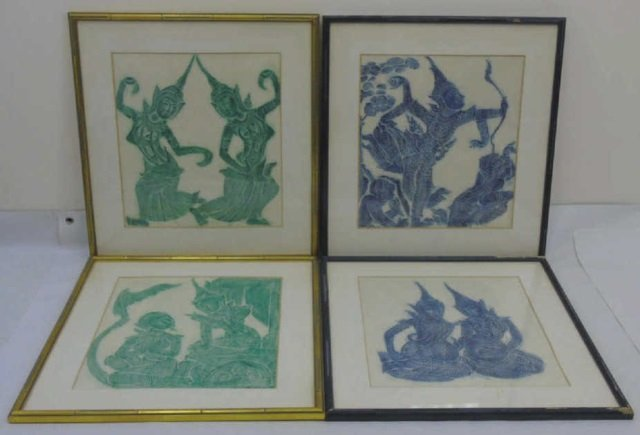 Suite of Four Framed Prints of Gods from Thailand
