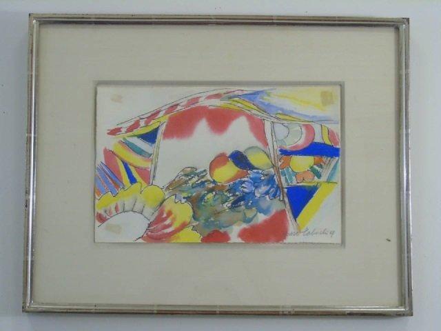 Yasse Tabuchi Pencil Signed Framed Watercolor