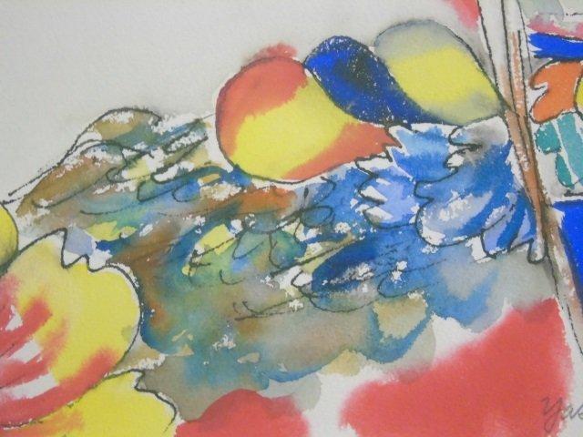 Yasse Tabuchi Pencil Signed Framed Watercolor - 2
