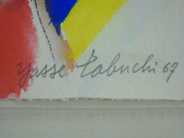 Yasse Tabuchi Pencil Signed Framed Watercolor - 3