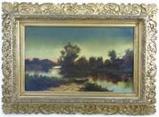 Antique 19th C. Barbizon School Riverscape Oil Pnt