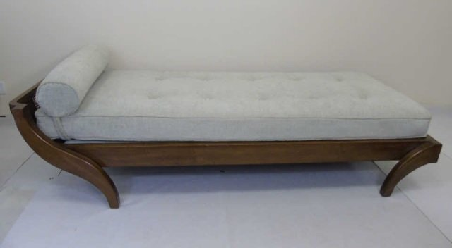 Contemporary Traditional Carved Wood Frame Chaise