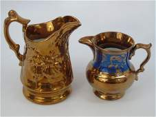 2 Antique English Copper Lustre Ware Pitchers