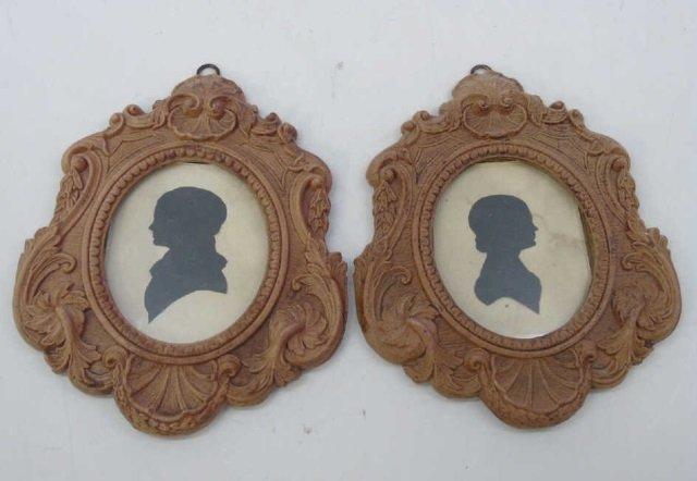 Pair Antique William James Hubard Silhouettes
