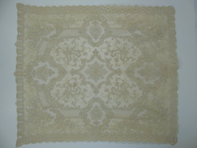 Antique 19th C Lace & Embroidery Table Cloth