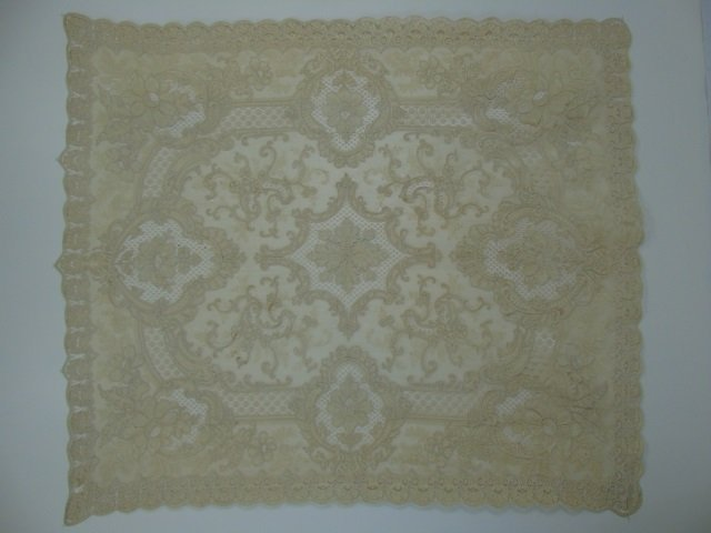 Antique 19th C Lace & Embroidery Table Cloth - 2