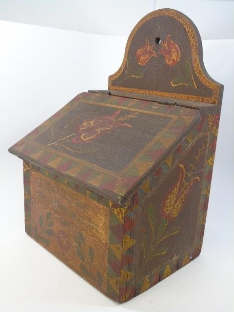 Antique Amish Hand Painted Salt Box w Hinged Lid