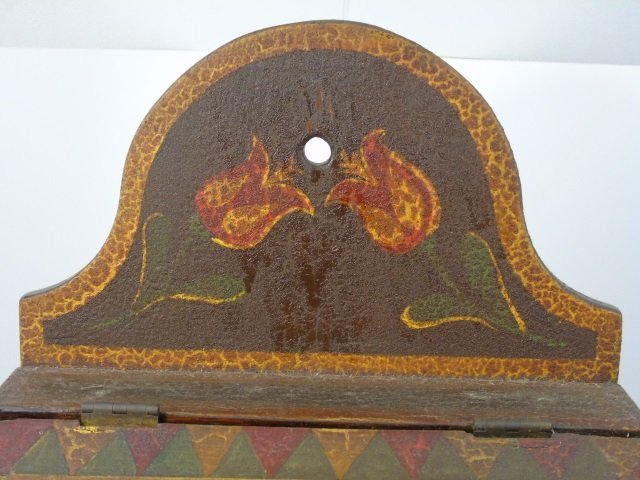 Antique Amish Hand Painted Salt Box w Hinged Lid - 2