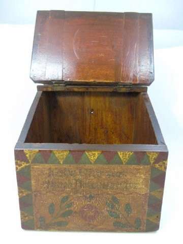 Antique Amish Hand Painted Salt Box w Hinged Lid - 4