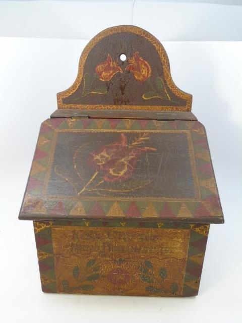 Antique Amish Hand Painted Salt Box w Hinged Lid - 5