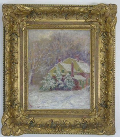 Antique Oil Painting in Gilt Frame Winter Scene
