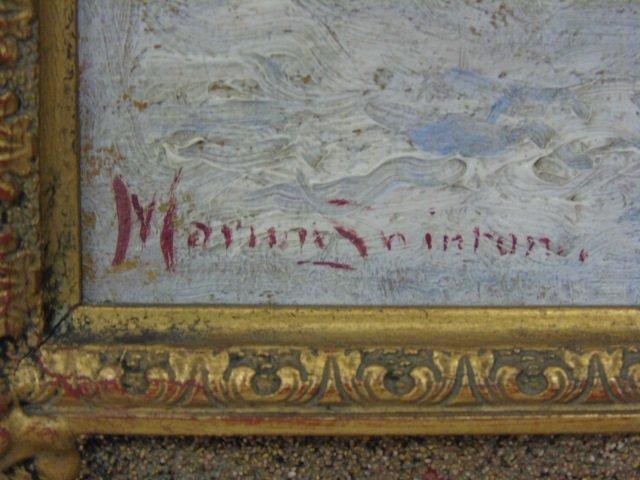 Antique Oil Painting in Gilt Frame Winter Scene - 2
