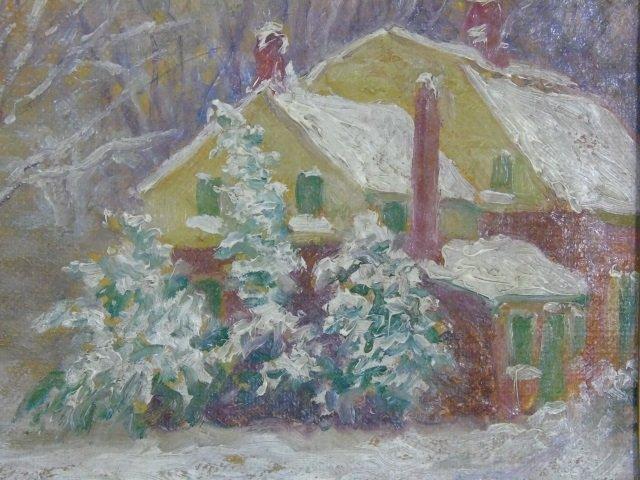 Antique Oil Painting in Gilt Frame Winter Scene - 3