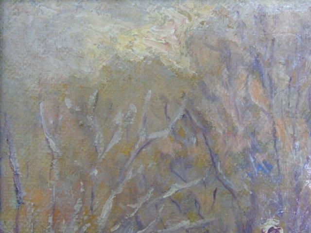 Antique Oil Painting in Gilt Frame Winter Scene - 4