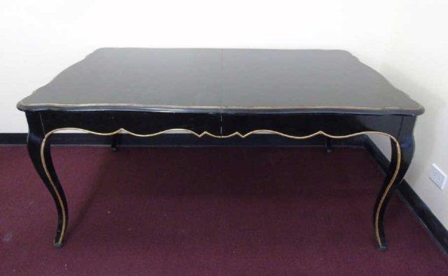 Maison Jansen Ebony & Gilt Wood Dining Table