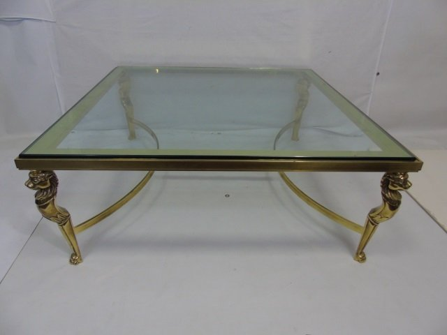 Contemporary Karges Brass and Glass Cocktail Table