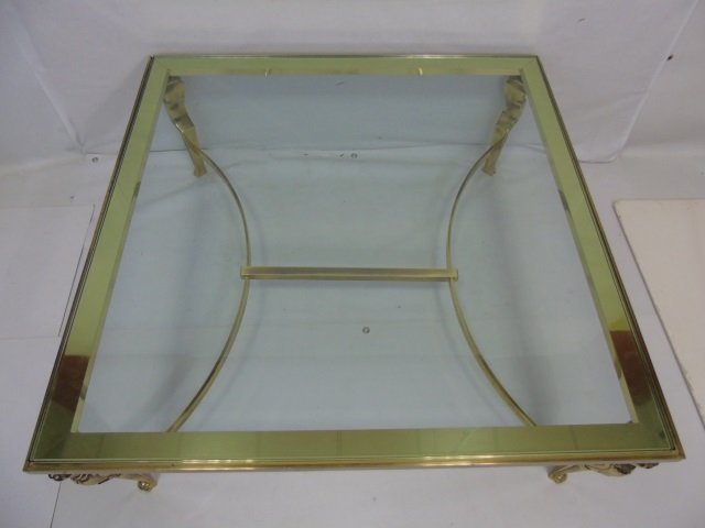 Contemporary Karges Brass and Glass Cocktail Table - 3