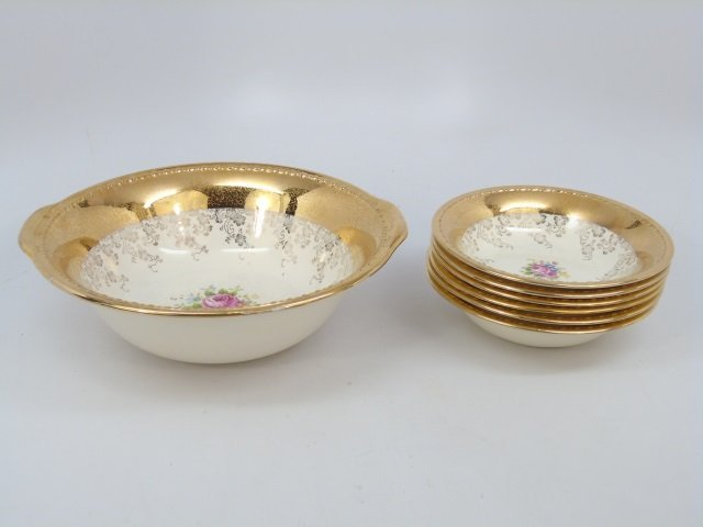 Gold Decorated Floral Porcelain Dessert Service