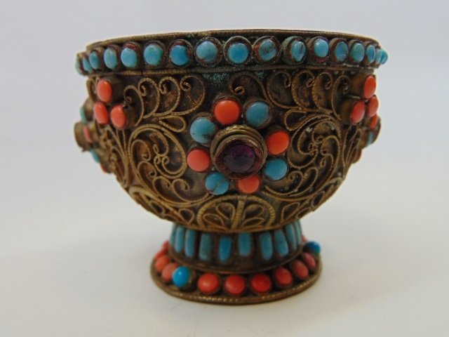 Antique Eastern Filigree & Cabochon Stone Chalice