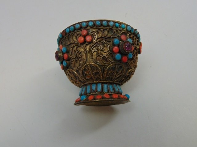 Antique Eastern Filigree & Cabochon Stone Chalice - 4