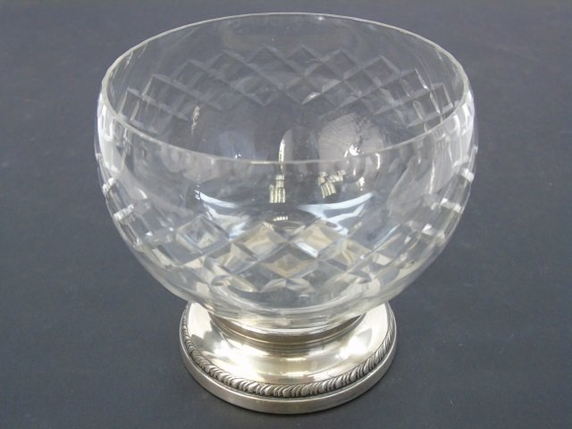 Antique Cut Crystal & Sterling Silver Compote