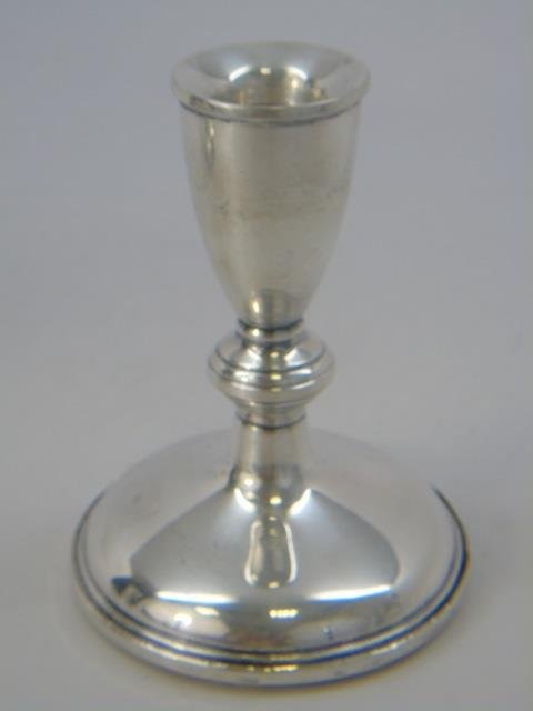 Pair Antique Sterling Silver Single Candlesticks - 2