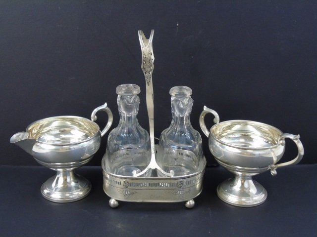 Antique Sterling Silver - Sugar, Creamer & Cruet