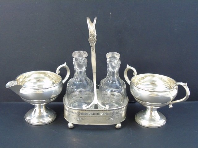 Antique Sterling Silver - Sugar, Creamer & Cruet - 8