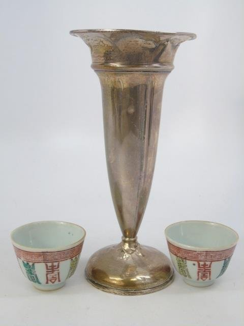 Pair Chinese Porcelain Cups & Sterling Silver Vase