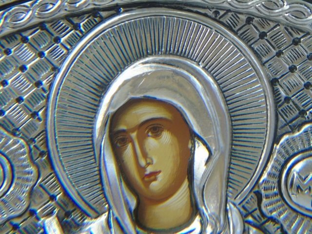 Contemporary Greek 950 Silver Painted Icon - 2
