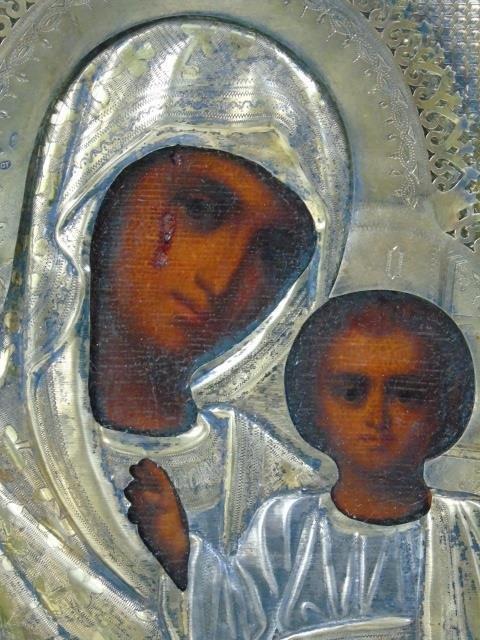Antique Russian Icon in Gilt Silver Oklad - 2