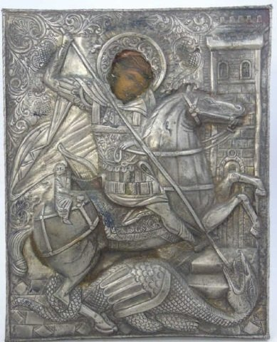 Antique Silver Plate Greek Icon of Saint George