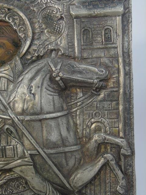 Antique Silver Plate Greek Icon of Saint George - 4