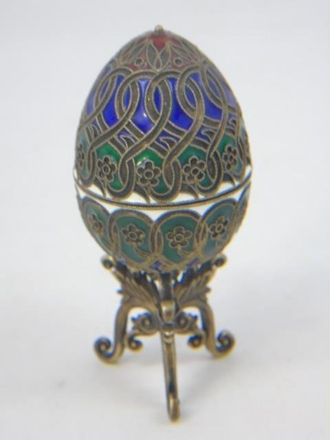 Russian Silver & Cloisonne Enamel Egg on Stand - 3