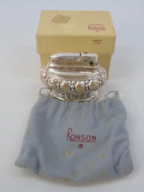 Vintage Ronson Silver Plate Lighter in Orig Box - 5