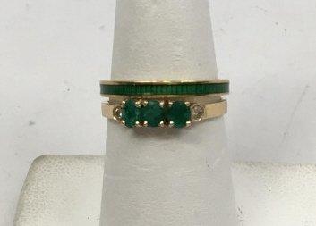 Estate Yellow Gold Emerald Diamond & Enamel Rings