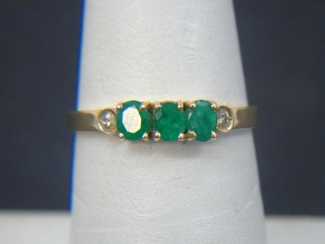 Estate Yellow Gold Emerald Diamond & Enamel Rings - 2