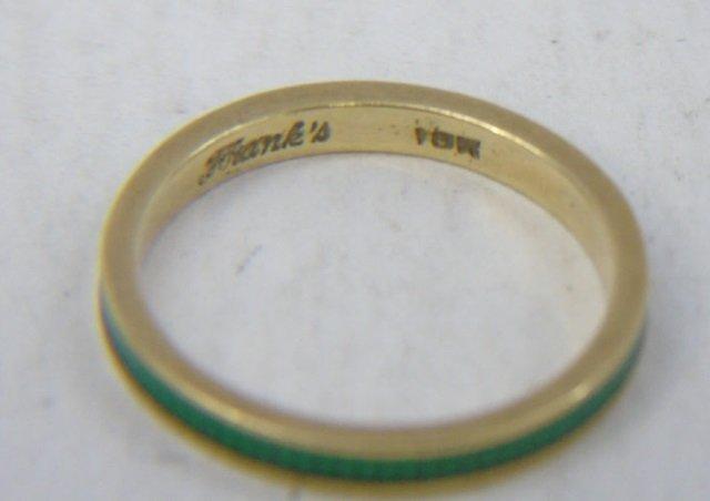 Estate Yellow Gold Emerald Diamond & Enamel Rings - 6