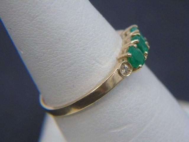 Estate Yellow Gold Emerald Diamond & Enamel Rings - 9