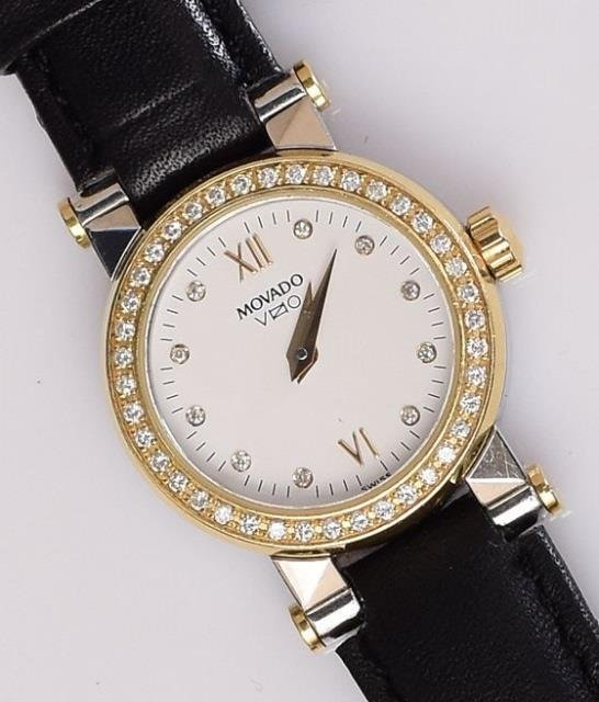 Movado Ladies Stainless Steel Watch w 14k Diamond Bezel