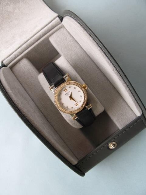 Movado Ladies Stainless Steel Watch w 14k Diamond Bezel - 2