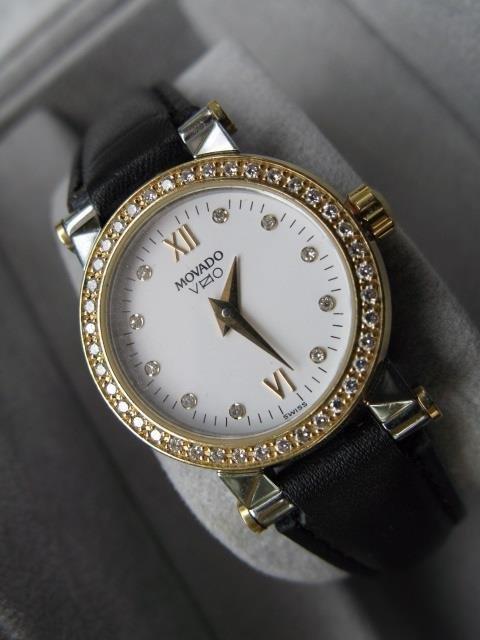 Movado Ladies Stainless Steel Watch w 14k Diamond Bezel - 4
