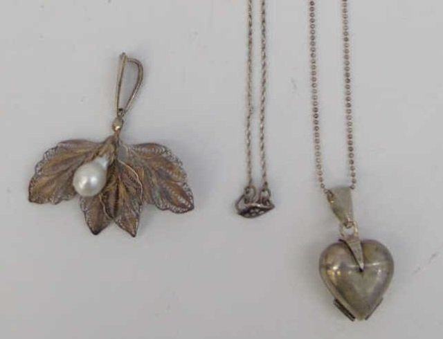 Three Estate Filigree & Sterling Silver Necklaces