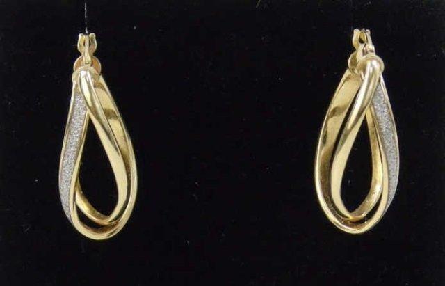 Pair 14k Yellow Gold Diamond Double Hoop Earrings