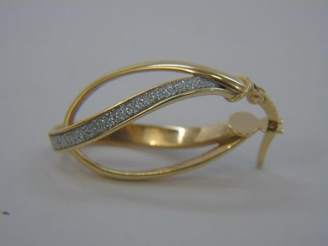 Pair 14k Yellow Gold Diamond Double Hoop Earrings - 4