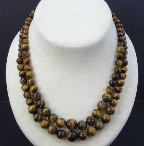 Pair Graduated Carved Bead Tiger's Eye Necklaces